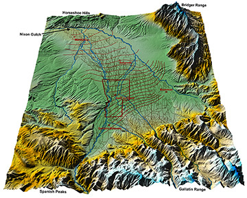 This 3D model details the complex network of more than 2,000 miles of irrigation ditches in the Gallatin Valley, as well as how the groundwater flows in the area. Much of the groundwater in the valley is replenished by the unlined ditches, which are largely credited for maintaining groundwater levels in the area despite rapid urban and suburban development and irrigation practice changes. Groundwater in the valley flows north and west toward Nixon Gulch.